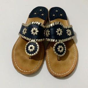 Jack Rogers Navy Blue and Silver Sandals